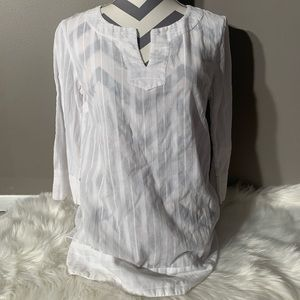 """Merona Size M Boho White Tunic Shirt Length 28"""""""